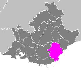 Situation de l'arrondissement de Draguignan dans le département  Var.