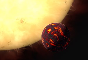 Super-Earth - Image: Artist's impression of 55 Cancri e
