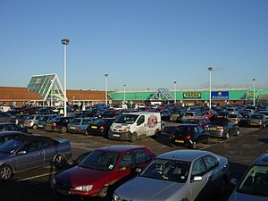 Asda car park, Utting Avenue. Asda complex, Ut...