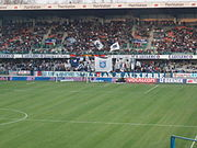 Supporters de l'AJ Auxerre contre les Girondins de Bordeaux en 2006.