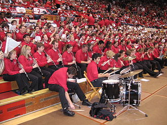 Ohio State University Athletic Band - The 2006 Fall Athletic Band performs at the Homecoming Marching Band Skull Session. The varied instrumentation of the Athletic Band is seen clearly.
