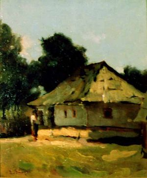 "Ion Creangă - Casa din Humulești (""The House in Humulești""), painting by Aurel Băeșu"