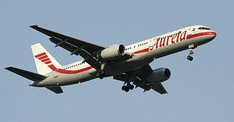 Aurela - Aurela Boeing 757-200 landing at Vilnius Airport (VNO).