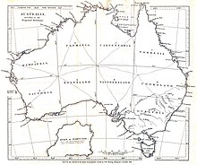 This Map Shows A Proposal For Subdivisions Of Australia From 1838 Note That Although The Names Victoria And Tasmania Appear Both Are Geographically