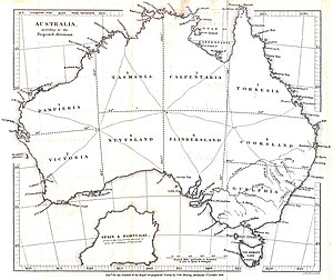 "This map shows a proposal for subdivisions of Australia from 1838. Note the names ""Victoria"" and ""Tasmania"" appear, both distant from the current states of the same name."