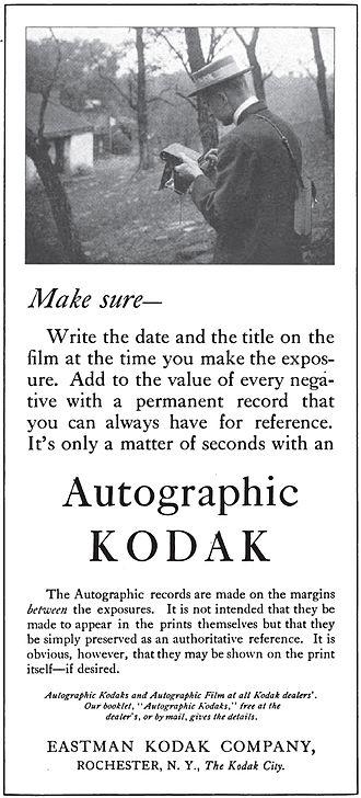 Autographic film - 1915 magazine ad