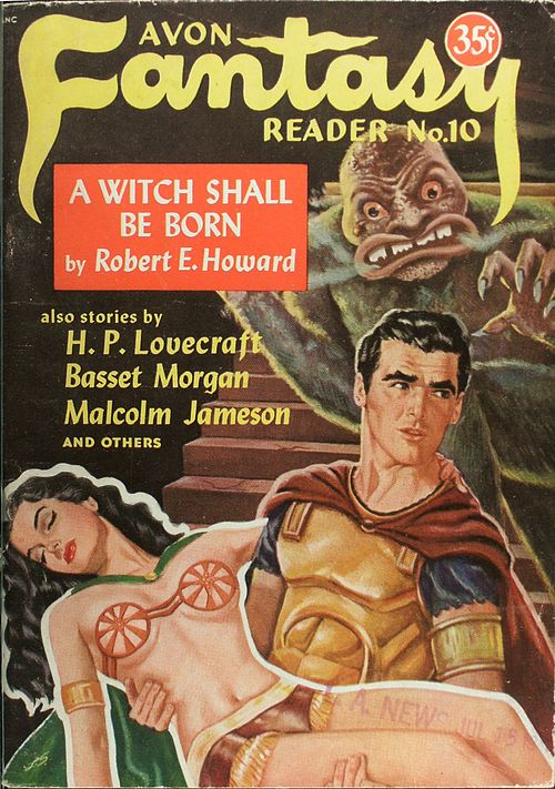 Avon Fantasy Reader No. 10 cover: Conan, a clean shaven, short-haired man in classical armour, holds a recumbent scantily-clad, black-haired woman; behind them a furry monster with vaporous breath descends a staircase towards them.