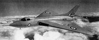 V bomber - An Avro 707 in flight during 1951; this type was developed to test the tailless thick delta wing configuration chosen for the Avro Vulcan