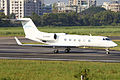 B-8098 Gulfstream G450 Beijing Airlines Lined Up for Take off (8613201254).jpg