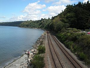 Burlington Northern Railroad - Main line heading north out of Seattle, Washington along the shore of Puget Sound