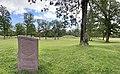 BORREHAUGENE Borreparken Borre Burial Mounds HORTEN Oslofjorden Norway Steinstøtte Velkommen til Parken Hauger trær sommer gress etc 2021-07-08 IMG 8233.jpg