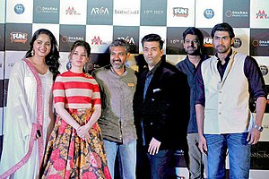 S. S. Rajamouli - Anushka Shetty, Tamannaah Bhatia, Rajamouli, Karan Johar, Prabhas, Rana Daggubati at the trailer launch of the Hindi version of Baahubali 2: The Conclusion