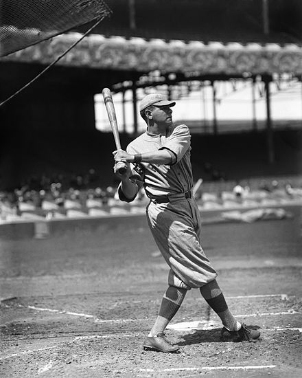 Ruth during batting practice in 1916. Babe Ruth by Conlon, 1916.jpeg
