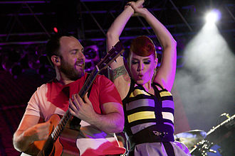 "Scissor Sisters - Babydaddy and Ana Matronic performing in Kansas City on the 2012 ""Magic Hour"" tour."