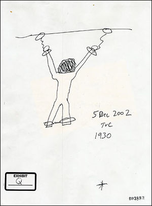 Dilawar (torture victim) - A sketch by Thomas V. Curtis, a former Reserve M.P. sergeant, showing how Dilawar was chained to the ceiling of his cell