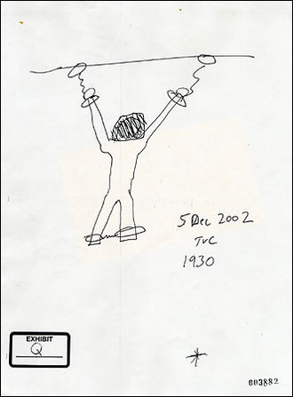 Moazzam Begg - Sketch of Dilawar chained to ceiling of his cell, by former Reserve US Army Military Police Corps sergeant