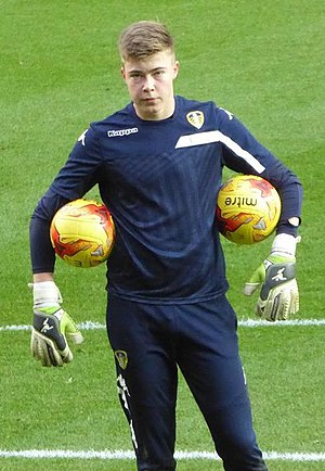 Bailey Peacock-Farrell - Peacock-Farrell warming up for Leeds United in 2015