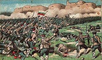 Balkan Wars - Bulgarian soldiers obliterating the Turkish defenses in the Battle of Kirk Kilisse