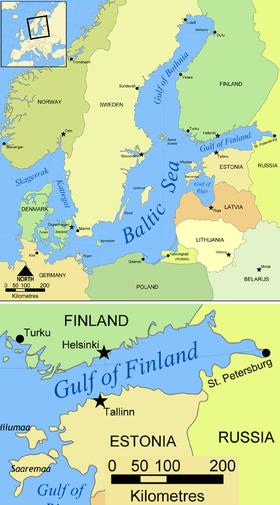 Carte du golfe de Finlande.