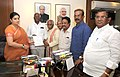 Bandaru Dattatreya along with the Deputy Chief Minister and Minister of Education, Telangana, Shri Kadiyam Srihari meeting the Union Minister for Human Resource Development, Smt. Smriti Irani, in New Delhi on July 28, 2015.jpg