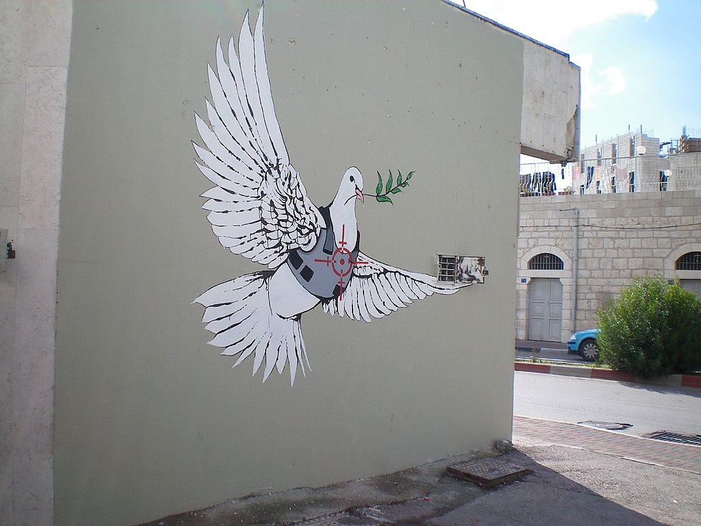 File banksy armoured peace wikimedia commons for Banksy mural painted over