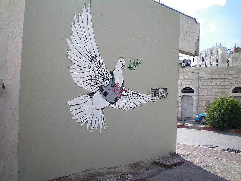Banksy armoured peace for Banksy mural painted over
