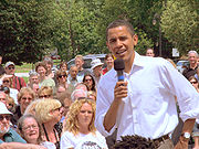 Obama taking questions from a crowd in New Hampshire