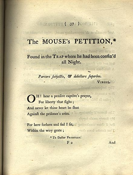 """The Mouse's Petition"" from Barbauld's Poems (1773) BarbauldMouse.jpg"