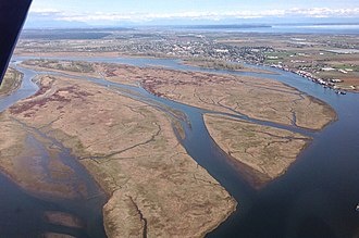 Fraser River - An east-facing aerial view of Ladner beyond Barber Island, Duck Island, Gunn Island and Port Guichon in the Fraser River Estuary