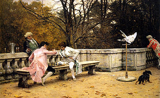 Charles Bargue - The Chess Game, by Charles Bargue