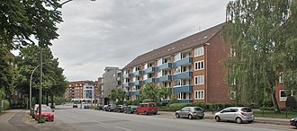 Barmbek-Süd - Typical apartment buildings at the street of Reesestrasse