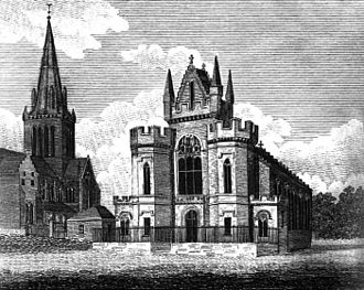 Barony Hall - The 1798 Barony Church, pictured in 1825