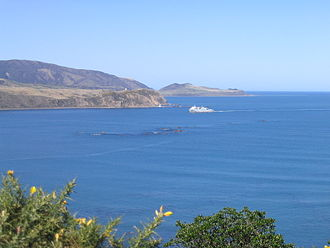 TEV Wahine - Looking east on a calm day over the entry of Wellington Harbour, where the disaster occurred.