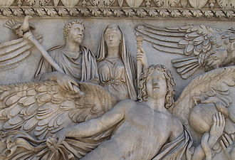 Faustina the Elder - Depiction of Pius and Faustina being borne aloft on the back of a winged figure. From the base of the Column of Antoninus Pius.