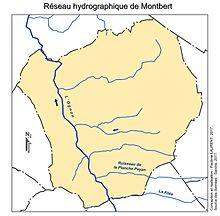 Carte représentant le réseau hydrographique d'une commune.