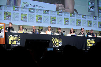 Batman v Superman: Dawn of Justice - From left: Zack Snyder (director), Holly Hunter, Jeremy Irons, Gal Gadot, Jesse Eisenberg, Amy Adams, Henry Cavill and Ben Affleck at the 2015 San Diego Comic-Con