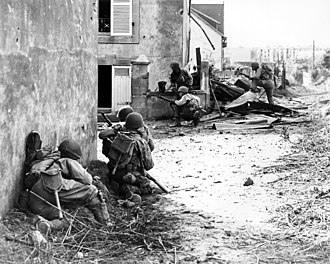 Battle for Brest - Troops of the 2nd Infantry Division advance under machine gun fire into the outskirts of Brest