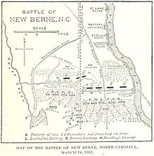 Map based on one prepared for General Branch, showing his defensive lines. New Bern is off the map at the top; the Federal advance is from the bottom of the map. The Neuse River flows from top to bottom on the right; the left is limited by Bryce Creek, roughly parallel to the river. The Beaufort–New Bern railroad bisects the image vertically. The defense on the right is a straight line from the river to the railroad, about 3/4 of the distance from the top. From the railroad to Bryce Creek, the line of defense follows another small creek. The right and left halves of the defensive line are offset at the railroad. The land is covered by woods except immediately in front of the lines, where the timber has been felled.