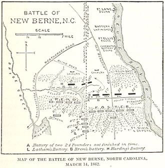 Battle of New Bern - Image: Battle of New Berne Map
