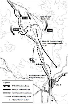 Map of a group of U.S. positions on two hills north of a town, with movements of large Chinese forces moving south and enveloping them