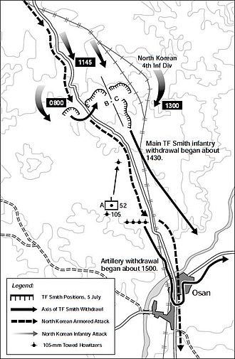Battle of Osan - Map of the Battle of Osan