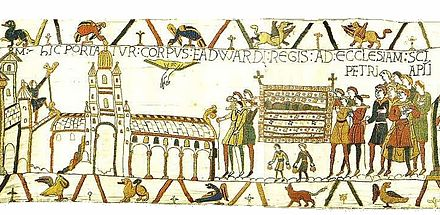 St Peter's Abbey at the time of Edward's funeral, depicted in the Bayeux Tapestry BayeuxTapestryScene26.jpg