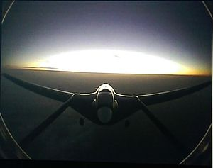 Unmanned combat aerial vehicle - Sunrise over the Gulf of Saros area in Turkey, as seen from Bayraktar's  tail camera at 18,000 feet.