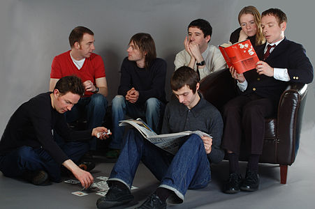 Scottish indie band Belle & Sebastian: (left to right) Mick Cooke, Richard Colburn, Bobby Kildea, Chris Geddes, Stevie Jackson, Sarah Martin and Stuart Murdoch.
