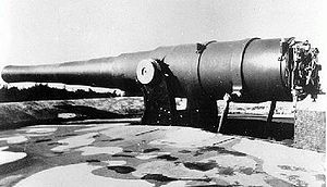 BL 9.2 inch gun Mk I–VII - Mk VI gun on disappearing mounting at Ben Buckler Gun Battery, Sydney