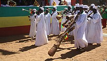 Benishangul Gumuz People in their tradishional dress and musical instrument.JPG