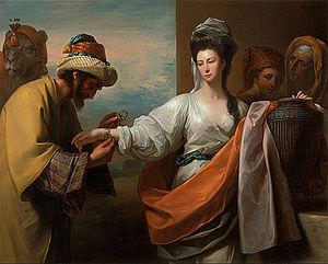 Rebecca - Isaac's servant tying the bracelet on Rebecca's arm