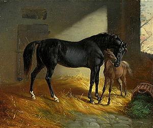 Benno Adam - Image: Benno Adam Pferd und Fohlen in der Stallung