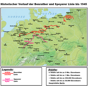 Benrath line - The Benrath (maken–machen) and Speyer line (Appel–Apfel), the main isoglosses of the continental West Germanic languages.