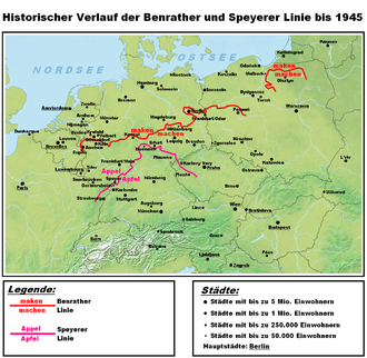 Speyer line - Major isoglosses of German dialects: the Benrath (maken/machen) and the Speyer line (Appel/Apfel)
